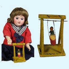 Antique German Erzgebirge Doll Size Toy Wood Swing Set!