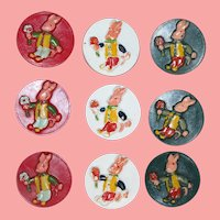 9 Darling Baby Child Doll Vintage 1940s Easter Bunny Rabbit Buttons!