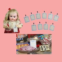 Antique Mini Tags/Signs for Doll's Millinery or Candy Shop!