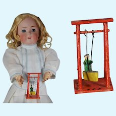 Antique German Erzgebirge Doll Size Toy Wood Swing! Marked!