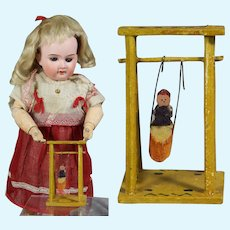 Sweet Little Antique German Erzgebirge Doll Size Toy Wood Swing!