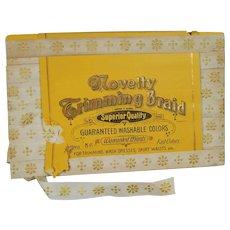 6 Yards! Antique 1900s German Trim Novelty Trimming Braid in Orig Package!