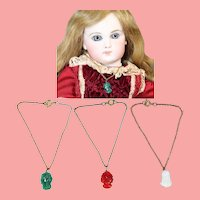 3 Antique Bisque Doll Glass Cameo Necklaces!