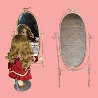 Vintage Long Metal Swinging Cheval Doll Mirror w Bird on Top!