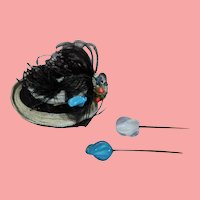 2 Beautiful Antique Glass Doll Hat Pins for your French Fashion!