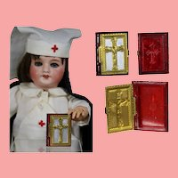 Doll Sized! 1940s US Zone Germany Bible Rosary Box - Red!