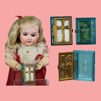 Doll Sized! 1940s US Zone Germany Bible Rosary Box - Teal!