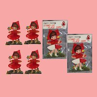 Old Store Stock! FOUR Vintage Doll Red Riding Hood Place Cards!