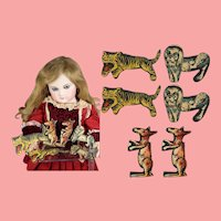6 Antique German Articulated Die-cut Litho Toy Animals for your Doll!