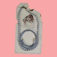 Antique Doll Child Czech Glass Bracelet Necklace on Orig Card!