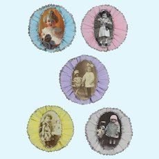 Lovely! Crepe Paper Doll Rosettes Decorations! Children with Dolls!
