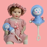 Darling Vintage c1940s Doll Toy Rattle!