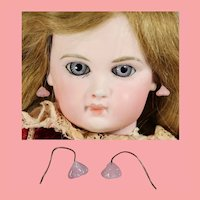 Lovely Floral Antique Bisque Doll Pink Glass Earrings!