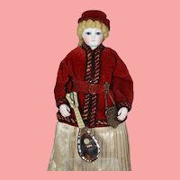 Antique French Fashion Doll Mother of Pearl Mandolin!