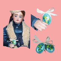 Two Beautiful Vintage Faberge Style Easter Eggs for your French Fashion Doll!