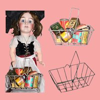 Antique German Metal Doll Sized Shopping Basket!