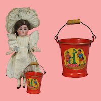 Excellent! Darling Vintage German Doll Sized Sand Pail Bucket!