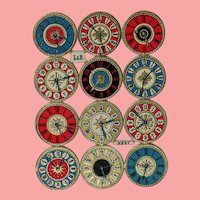 Antique German Die Cut Clock Watch Faces for Doll Projects!