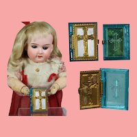 1940s US Zone Germany Mini Doll Sized Bible Rosary Box - Teal!