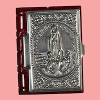 Doll Size! Germany Mini Bible Box Repousse Our Lady of Fatima - Red!