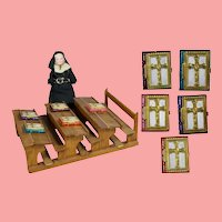 FIVE Doll Sized 1940s US Zone Germany Bibles for Doll School Room!