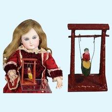 NICE! Antique German Erzgebirge Doll Size Toy Wood Swing Set!