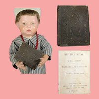 "Antique c1853 Mini Doll Sized Devotional Prayer Book! ""Heavenly Manna"""