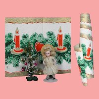 Vintage c1940s Roll Christmas Backdrop Trim Paper - Perfect for Doll Scene!