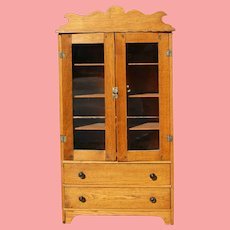 Antique Salesman Sample Doll Oak Pie Safe Cabinet!
