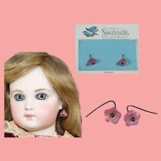 Antique Doll French Pink Floral Glass Earrings on Orig Card!