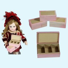 3 Antique French Light Pink Boxes for Doll Accessories!