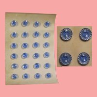 Antique Venetian Glass Blue Buttons on Card for Doll Sewing or Other Sewing!