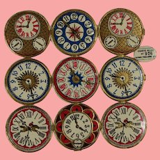 Antique German Raphael Tuck Die Cut Clock Watch Faces for Doll Projects!