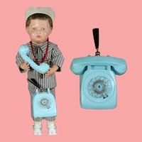 Darling Vintage Miniature Doll Sized Rotary Toy Telephone Pen Holder!