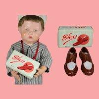 Vintage Doll Sized Salesman Sample Men's Shoes in Orig Box!