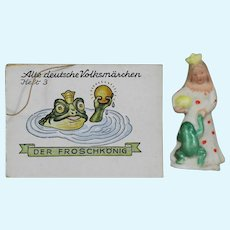 """1930s German Bisque Doll Sized """"The Frog Prince"""" WHW Charity Figurine & Story Book!"""