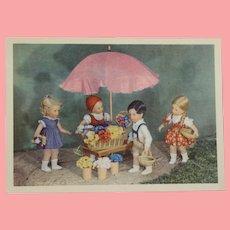 Wonderful Vintage MINT Kathe Kruse Doll Postcard!