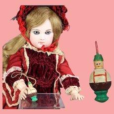 Doll German Mini Wood Spinning Top Bavarian Boy Erzgebirge WHW Charity!