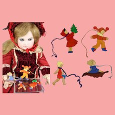Doll Sized 1930s WHW Erzgebirge German Feather Tree Christmas Ornaments