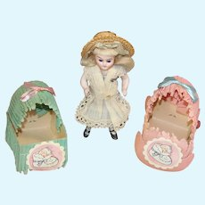 Darling Vintage Dollhouse Doll Size Candy Container Baby Cradles!