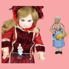 1930s German Bisque Doll Sized Black Forest Lady Harvester Pin WHW Charity Figurine!
