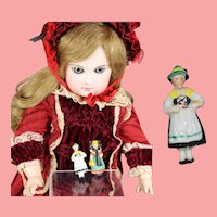 1930s German Bisque Doll Sized Black Forest Lady Pin WHW Charity Figurine!