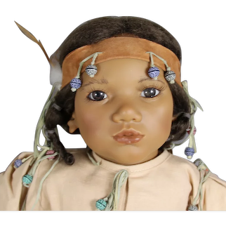 """Beautiful Vintage 26"""" Annette Himstedt Takumi Native American Doll!"""