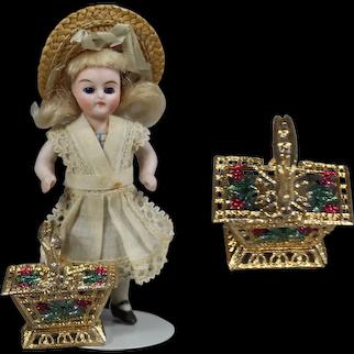 Darling! Mignonette Doll Sized Soft Metal Basket!