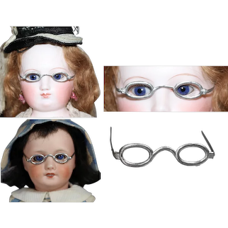 Antique German Metal Doll Glasses fit French Fashion Bleuette Etc!