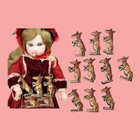 10 Antique German Articulated Doll Size Die-cut Litho Toy Animals Kangaroos!