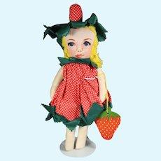 Vintage 1940s Cloth Strawberry Doll w Tag Louisiana Emma's Doll House