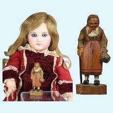 Vintage Mini Doll Sized Beautifully Wood Carved Woman Figurine