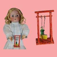 Antique German Erzgebirge Doll Size Toy Wood Swing! Marked!
