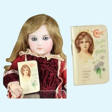 Antique 1905 Mini Doll Size Chichester Pills Celluloid Booklet!